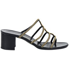 Black Chanel Chain-Trimmed Strappy Sandals