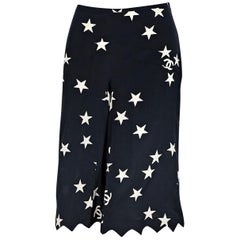 Chanel Navy Blue and White Printed Silk Culottes