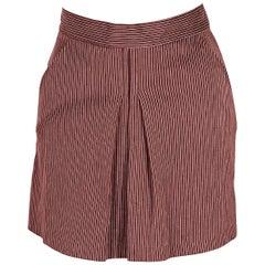 Burnt Red & White Vintage Jean Paul Gaultier Pinstriped Mini Skirt