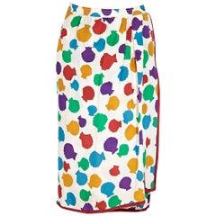 Multicolor Vintage Saint Laurent Shell-Printed Skirt