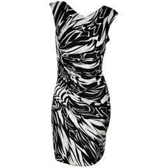 Black & White Emilio Pucci Printed Jersey-Knit Dress