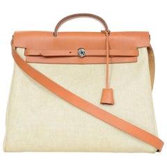 Hermes Vintage Natural Toile and Vache Calfskin Leather Herbag Bag