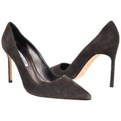Manolo Blahnik Shoe Charcoal Gray Suede Pump 40 / 10 New