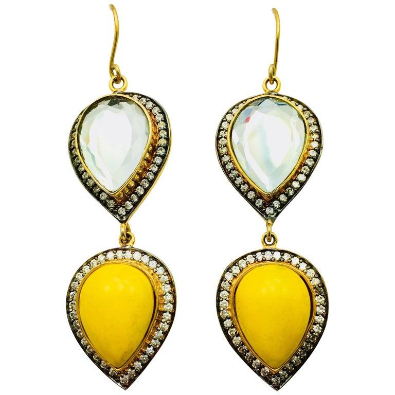 Polki Mirror Resin Drop Earrings For Sale