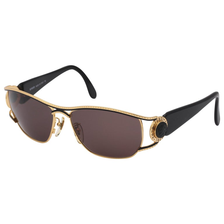 Vintage Fendi Gold/Black Sunglasses