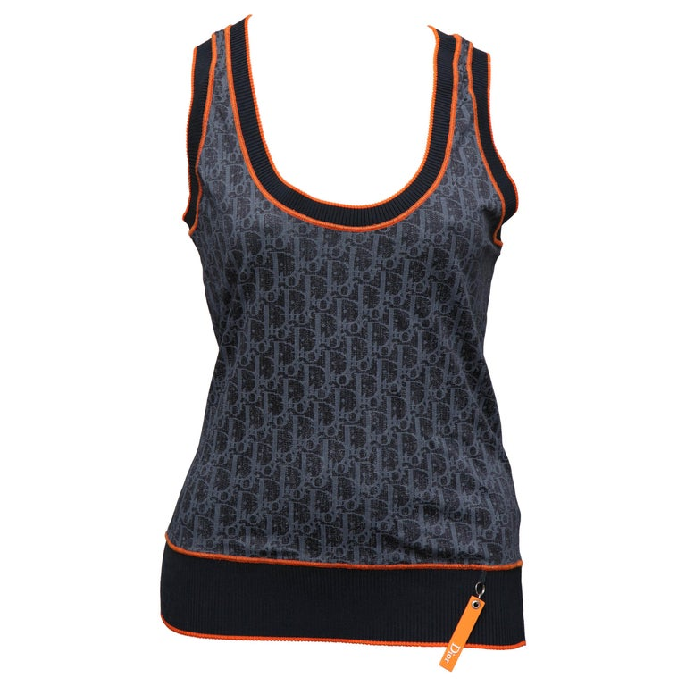 Christian Dior Navy Blue Iconic Logo Tank Top Tank Top T-shirt For Sale