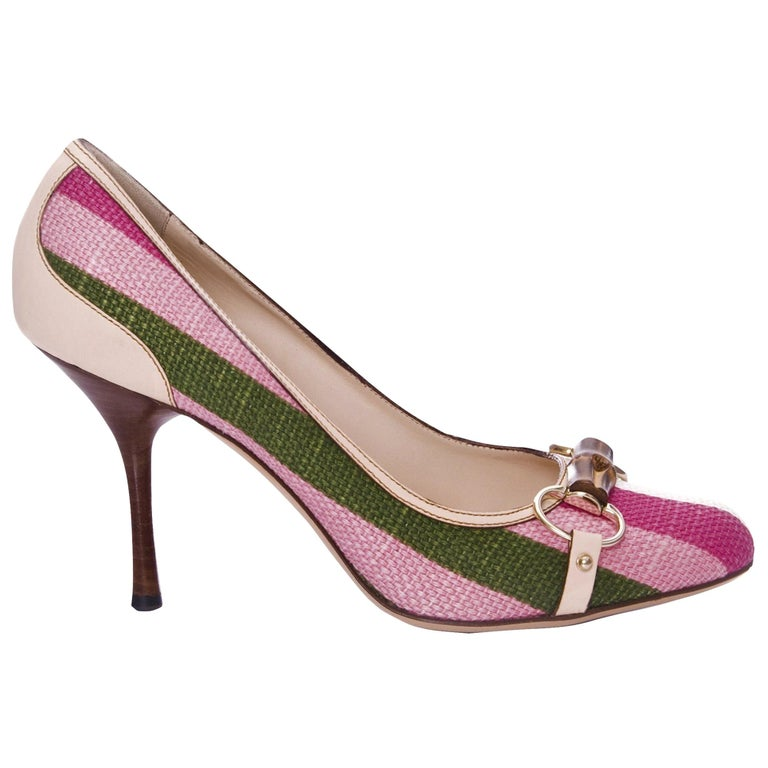 e1bc7159183d New Gucci Pink and Green Stripe Bamboo Web Horsebit Pumps Heels Sz 9.5 For  Sale