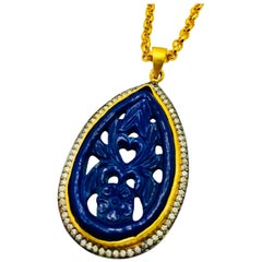 Meghna Jewels Handcrafted Carved Necklace Faux Lapis