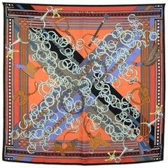 Hermes Orange Brides et Gris Gris 90cm Silk Scarf with Box