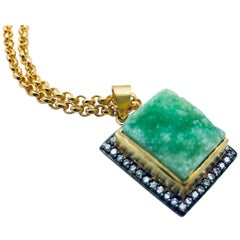 MEGHNA JEWELS Textured Agate Green Druzy Necklace