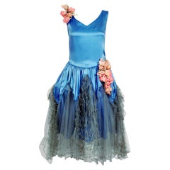 1920's French Blue Satin & Tulle Rose Applique Robe De Style Flapper Deco Dress