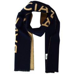 Balenciaga Navy and Tan Cashmere Blanket Scarf