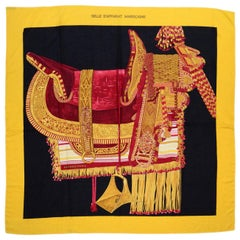 Hermes Yellow Selle d'Apparat Marocaine Cashmere & Silk 140cm Scarf Shawl