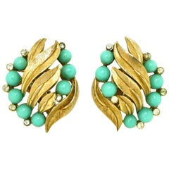 Faux Turquoise Clip Earrings by Trifari