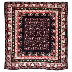 Hermes Black & Red Cashmere and Silk 140cm Shawl Scarf