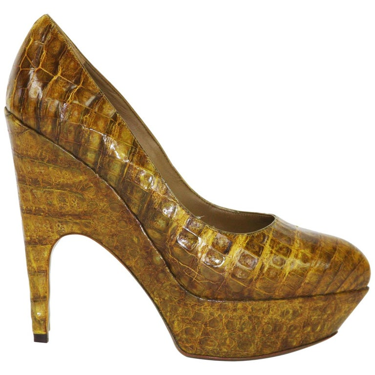 e58f7c88f843 New Yves Saint Laurent Alligator Platform Shoes Pumps 39 - 9 For Sale