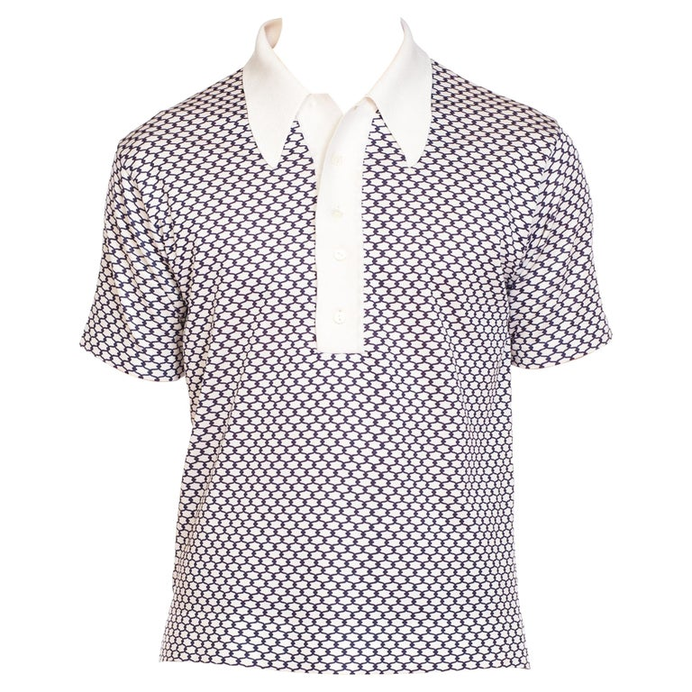 1960s Mens' Rat-Pack Knit Shirt With Small Gucci Style Print