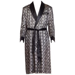 1960s Black and White Foulard Print Men's Satin Smoking Jacket Robe