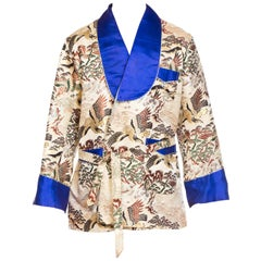 Asian Kimono Scenic Smoking Jacket with Blue Satin Trim, 1970s