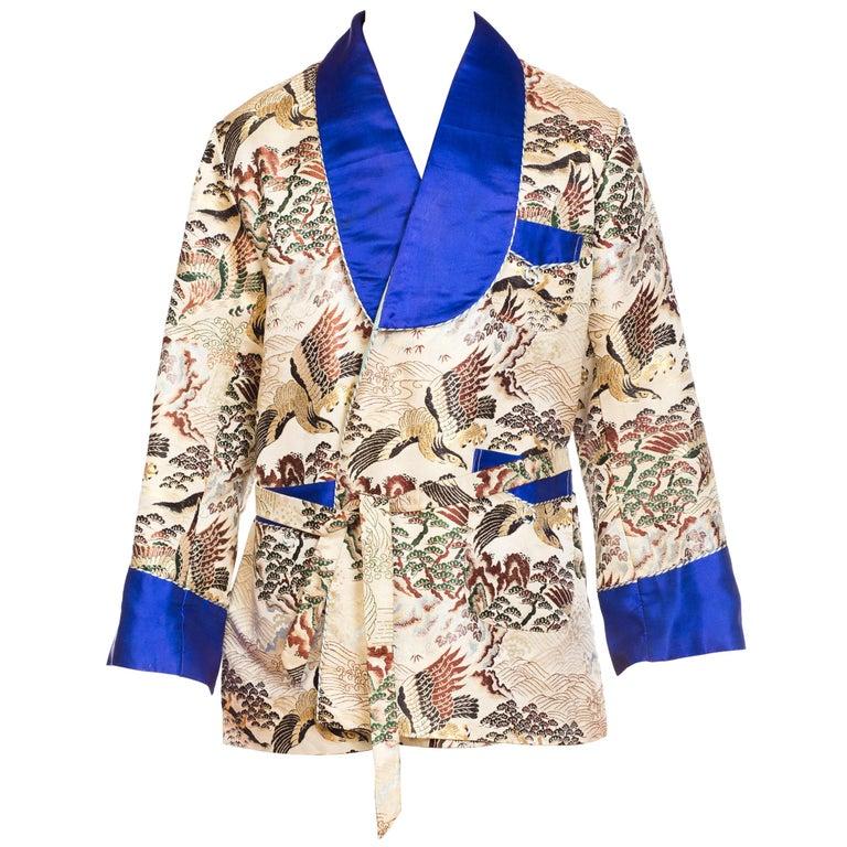 Asian Kimono Scenic Smoking Jacket with Blue Satin Trim, 1970s