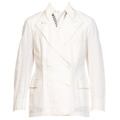 1920a 1930s White Cotton Mens Double Breasted Jacket