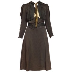 1930s Olive Green Textured Mutton Sleeve Dress