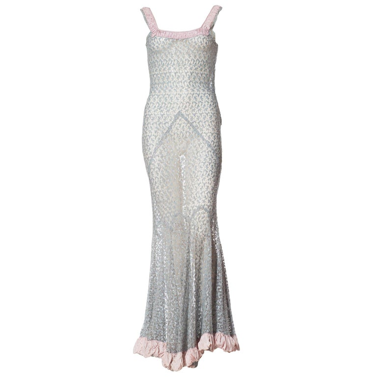 Sheer Lace Embroidered Net Gown with Ruffle, 1930s