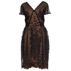 1950s Irene for Bullocks Wilshire Sheer Lace Dress
