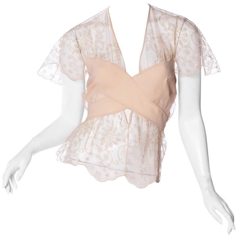 John Galliano for Christian Dior Sheer Lace Blouse