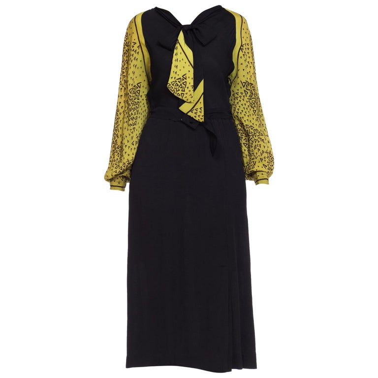 1930s Black and Chartreuse Belted Bow Neck Art Deco Print Dress