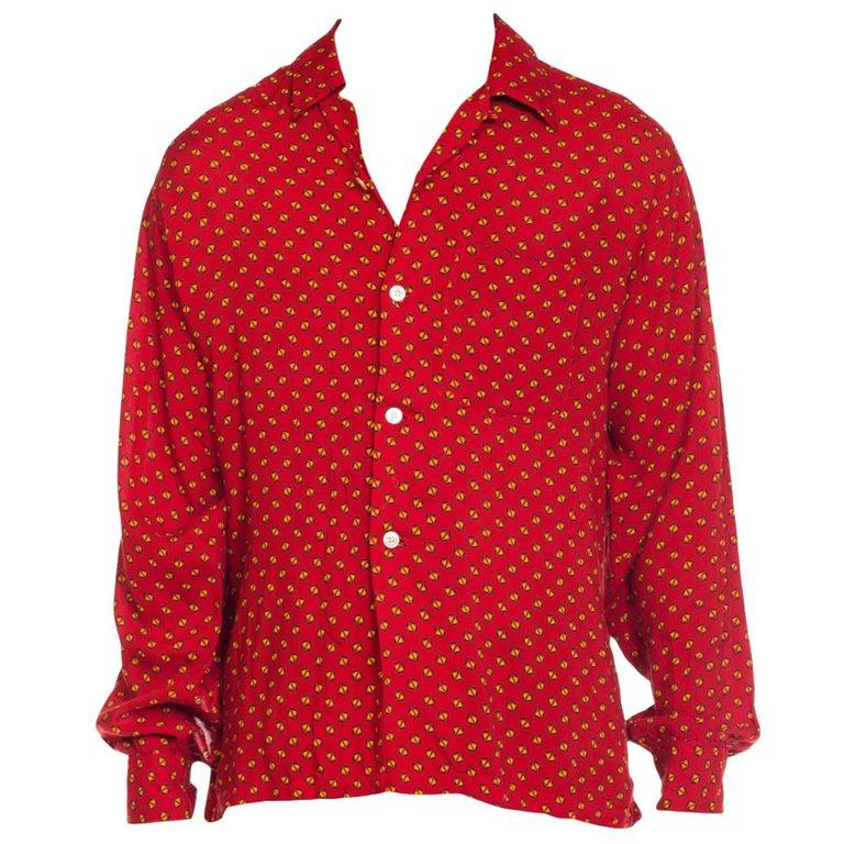 1940s Mens Printed Rayon Rockabilly Shirt