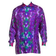 1990s Istante Versace Men's Silk Shirt