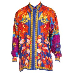 "1990s Versace Istante Gold Baroque Silk Shirt ""Fall"""