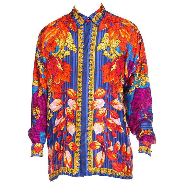 "1990s Versace Istante Gold Baroque Silk Shirt ""Fall"" For Sale"