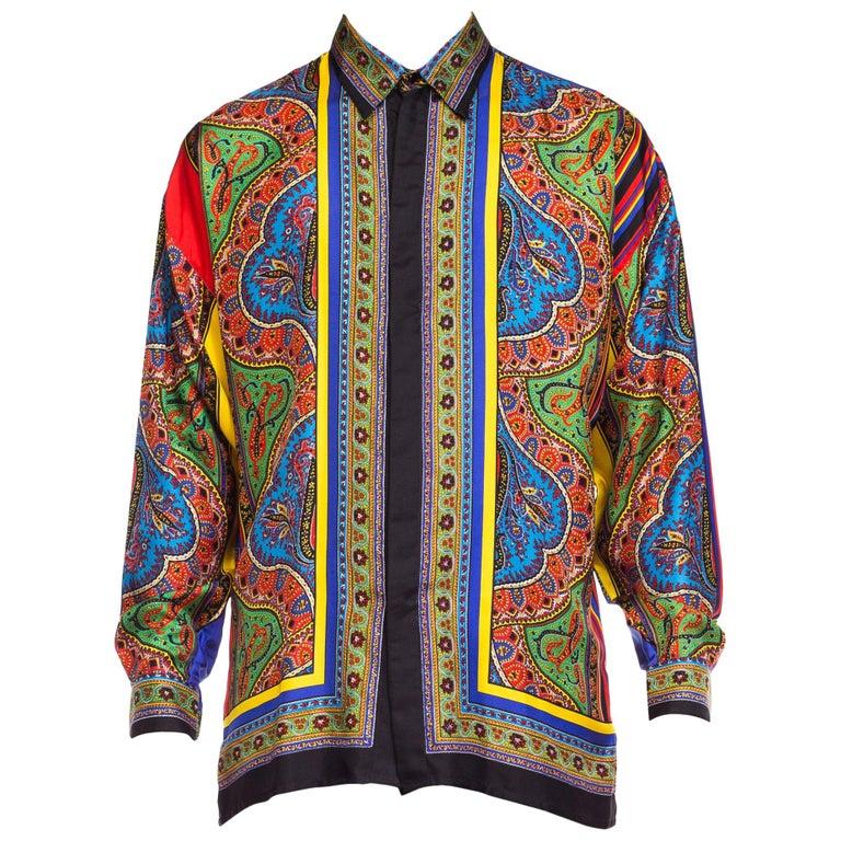 1990s Gianni Versace Istante Paisley Stripe Silk Shirt