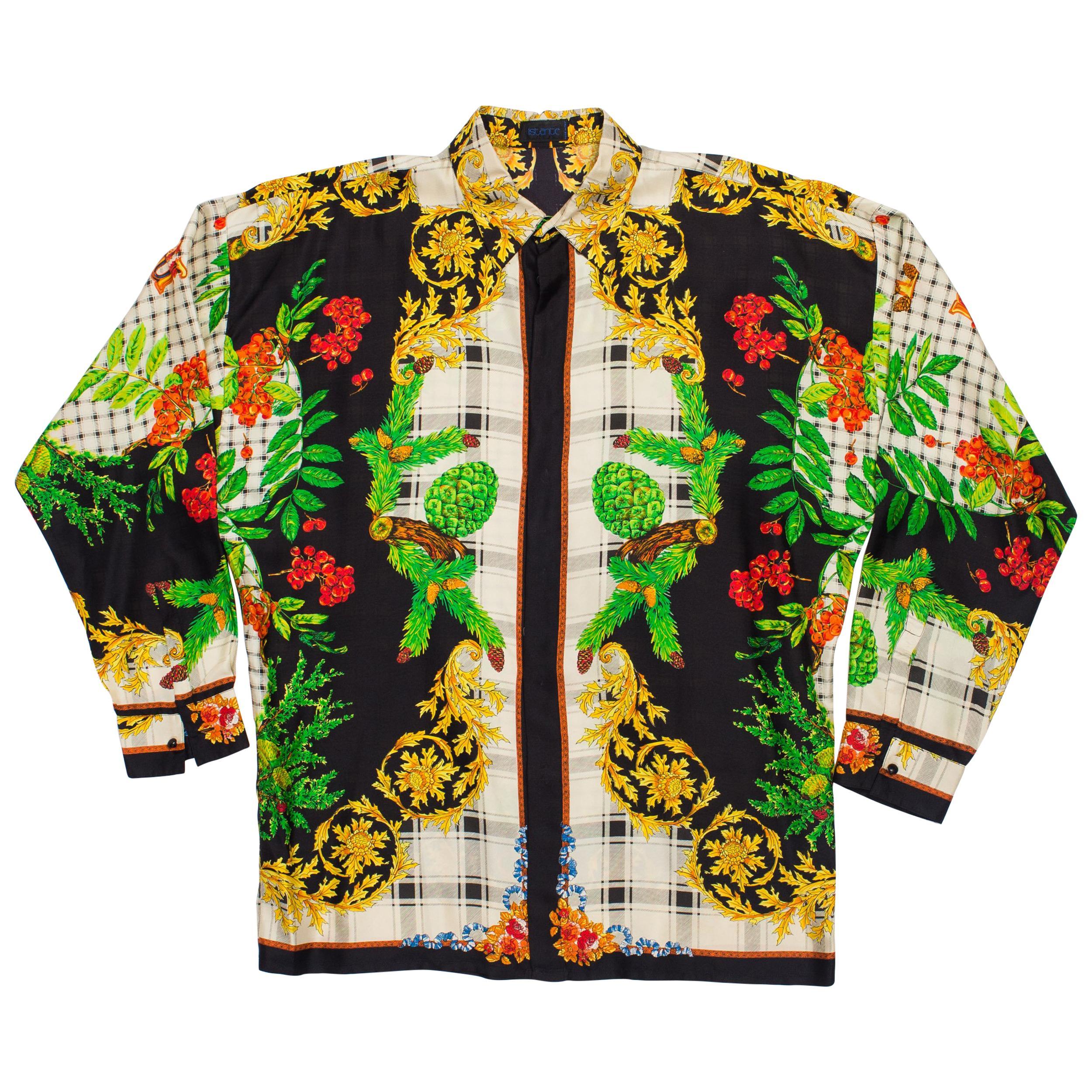 1990S GIANNI VERSACE Silk Men's Istante Autumnal Baroque Print Shirt Sz 48