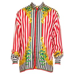 1990s Men's Gianni Versace Baroque Stripe Silk Shirt