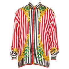1990s Men's Gianni Versace Baroque Stripe Silk Shirt