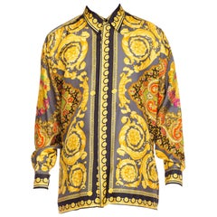Gianni Versace Men's Baroque Silk Paisley Shirt, 1990s