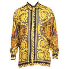 Gianni Versace Men's Baroque Silk Paisley Shirt, 1990s