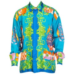 1990s Men's Gianni Versace Baroque Christopher Columbus Silk Shirt