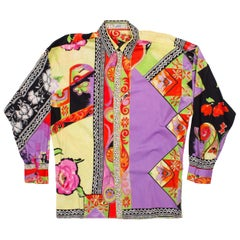 1990s Men's Gianni Versace Cotton Sateen Shirt