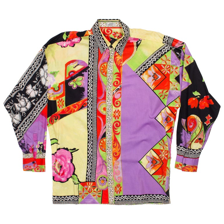 1990s Men's Gianni Versace Cotton Sateen Shirt