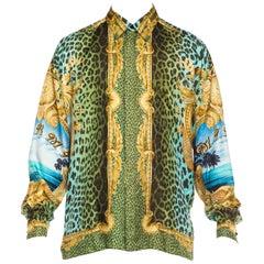 Gianni Versace Miami Leopard Baroque Silk Shirt, 1990s