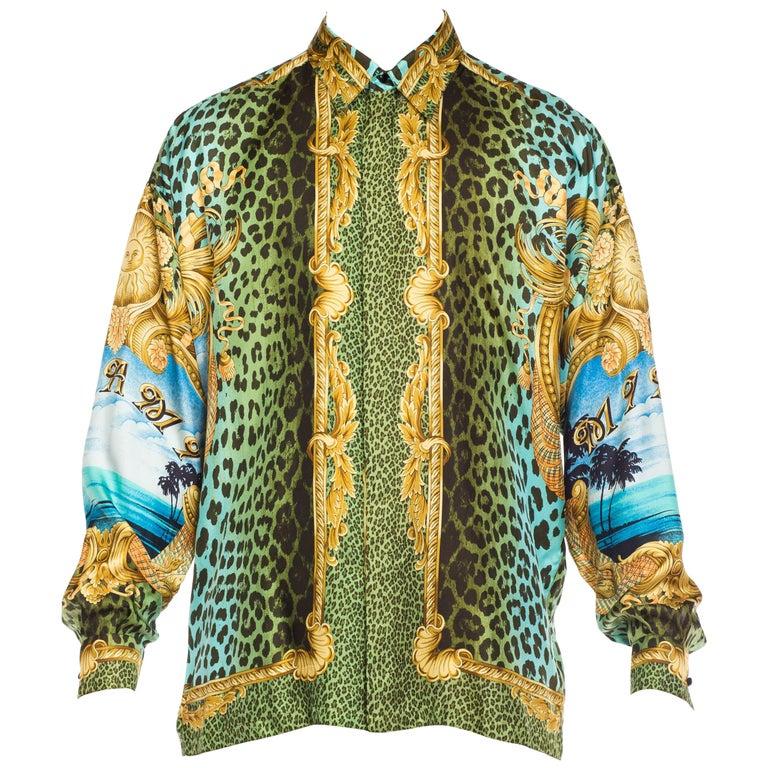 3a47ae890c648b Gianni Versace Miami Leopard Baroque Silk Shirt