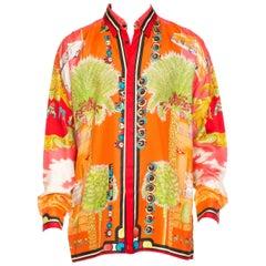 1990s Mens Gianni Versace South Beach 50s Pin Up Cadellac Silk Shirt