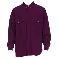 1990s Men's Gianni Versace Slinky Wool Silk Crepe Shirt