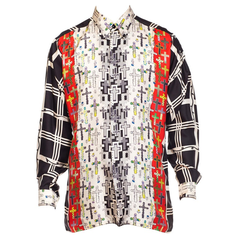 1990s Gianni Versace Iluminatti Cross Silk shirt