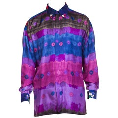 1990S GIANNI VERSACE Purple Tie Dyed Silk & Floral Printed Corduroy Men's  Shir