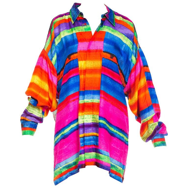 1990s Gianni Versace Colorblock Silk Shirt with Sheer Net Back Panel